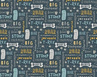 Blue Mustard Grey and White Dinosaur Fossil Words Jersey Knit, Fossil Rim By Deena Rutter for Riley Blake Designs, 1 Yard - Raspberry Creek Fabrics
