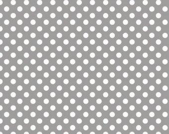 Gray and White Small Polka Dot Cotton For Riley Blake, 1 Yard