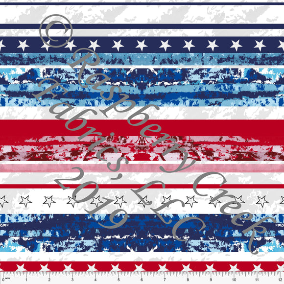Red White and Blue Grunge Star Stripe 4 Way Stretch MATTE SWIM Knit Fabric, By Elise Peterson for Club Fabrics