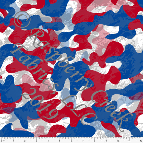 Red White and Blue Textured Camo 4 Way Stretch MATTE SWIM Knit Fabric, By Elise Peterson for Club Fabrics - Raspberry Creek Fabrics