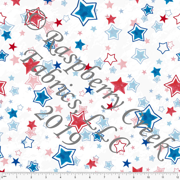 Red White and Blue Grunge Multi Star 4 Way Stretch MATTE SWIM Knit Fabric, By Elise Peterson for Club Fabrics