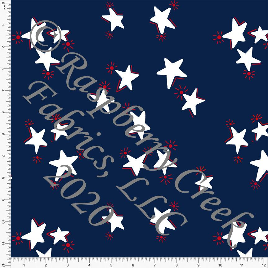 Navy Blue and Red Tossed Firework Stars, By Brielle Carlson for CLUB Fabrics - Raspberry Creek Fabrics Knit Fabric