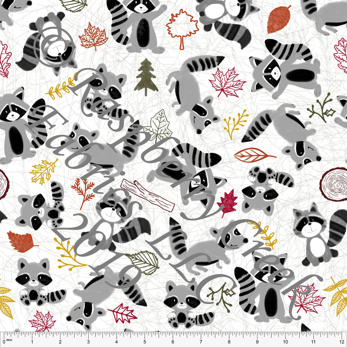 Grey Black Rust Mustard and Olive Leaves and Raccoons By Courtney Graziano For Club Fabrics - Raspberry Creek Fabrics