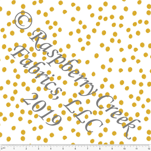 Mustard and White Random Polka Dot by Elise Peterson for Club Fabrics - Raspberry Creek Fabrics