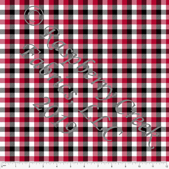 Red Black and White Check Gingham 4 Way Stretch Double Brushed Poly, CLUB Fabrics - Raspberry Creek Fabrics