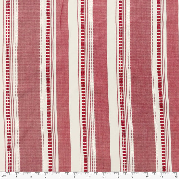 Red and Off White Woven Vertical Stripe Rayon Challis, 1 yard