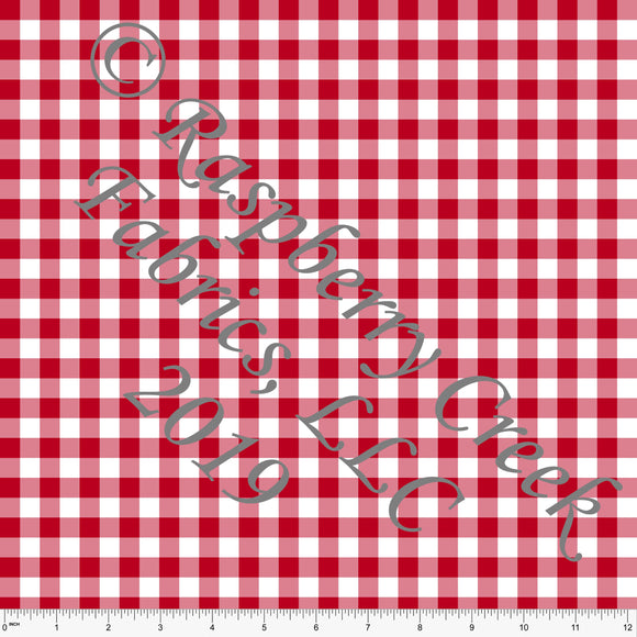 Red and White Check Gingham Sueded Microfiber Woven Board Short Fabric, CLUB Fabrics - Raspberry Creek Fabrics