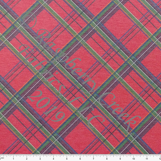 Red Green Blue and Gold Tartan Plaid Heathered FLEECE Sweatshirt Knit Fabric, Bri Powell for CLUB Fabrics - Raspberry Creek Fabrics