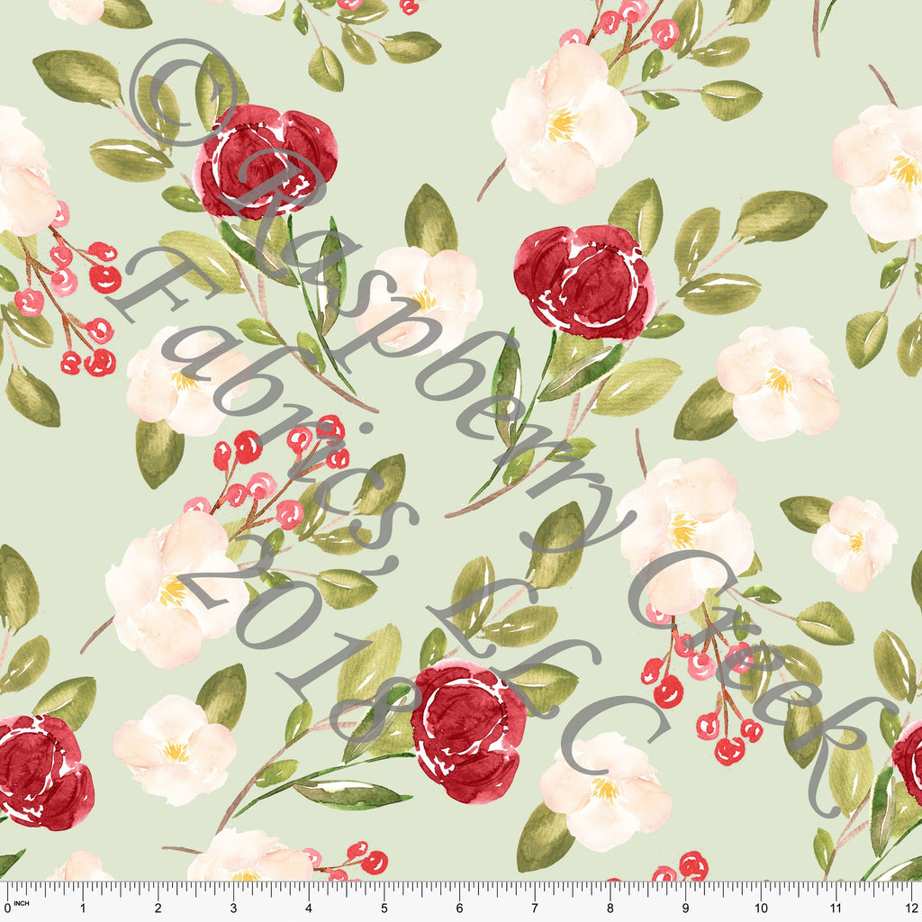 Sage Burgundy Red and Cream Watercolor Floral 4 Way Stretch Jersey Knit Fabric, Christmas for Club Fabrics