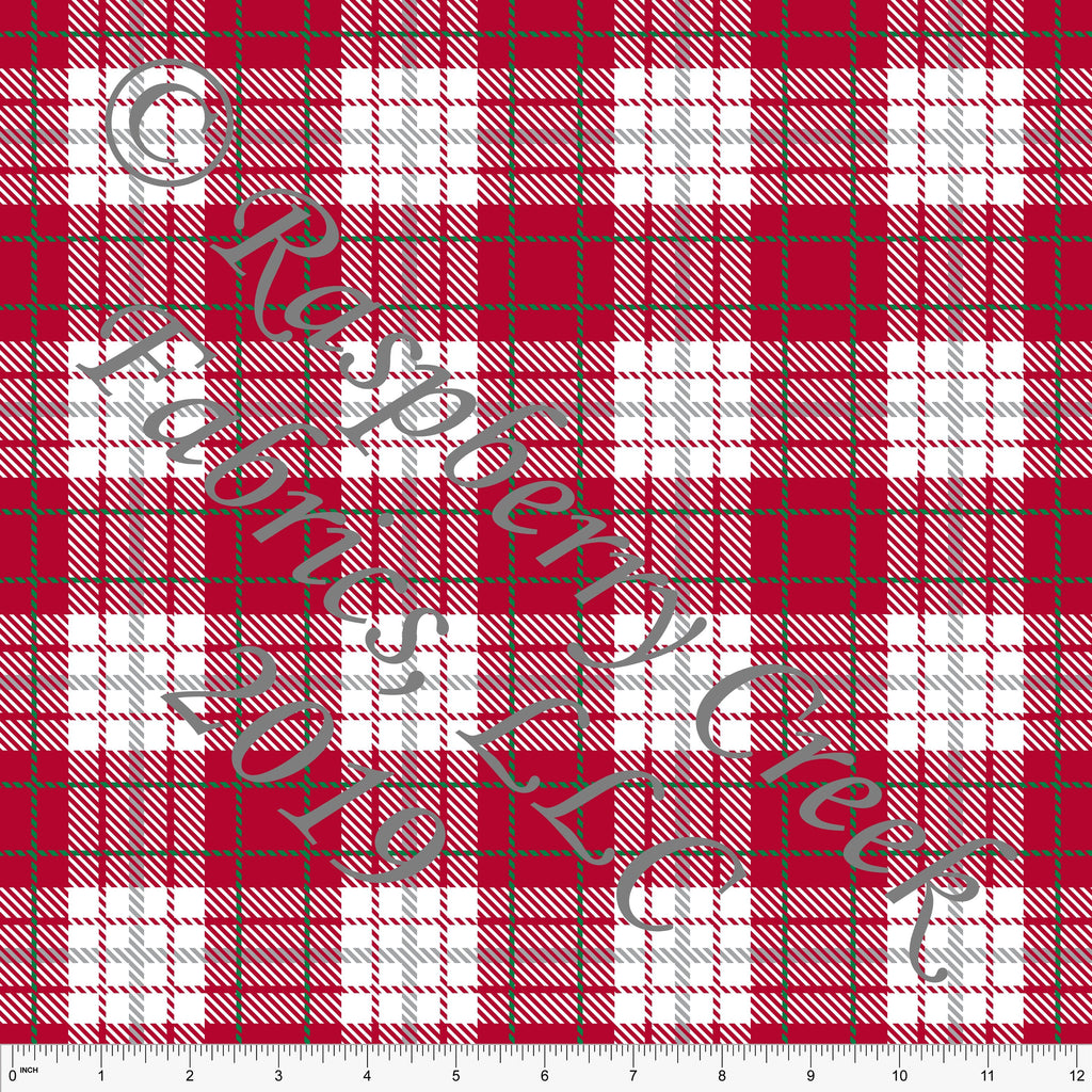 Red Kelly Green and Grey Christmas Plaid for Club Fabrics - Raspberry Creek Fabrics