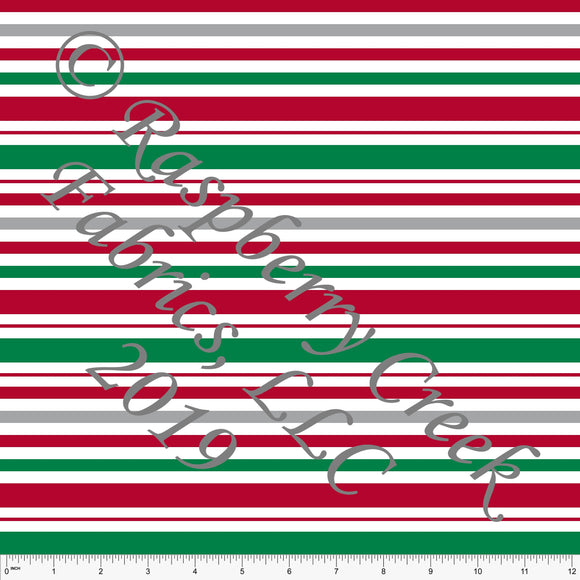 Red Kelly Green and Grey Christmas Stripes for Club Fabrics - Raspberry Creek Fabrics