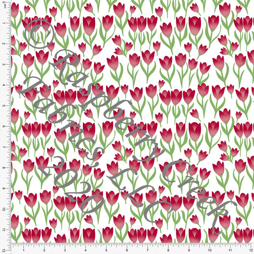 Red Grass Green and White Tulip Print Double Brushed Poly Knit Fabric, By Courtney Graziano for CLUB Fabrics - Raspberry Creek Fabrics Knit Fabric