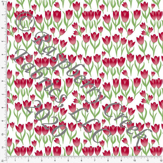 Red Grass Green and White Tulip Print Double Brushed Poly Knit Fabric, By Courtney Graziano for CLUB Fabrics Raspberry Creek Fabrics