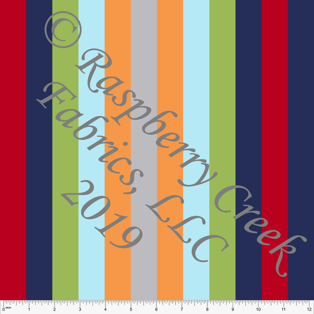Navy Green Red Orange Light Blue and Grey Vertical Multi Stripe 4 Way Stretch MATTE SWIM Knit Fabric, Club Fabrics
