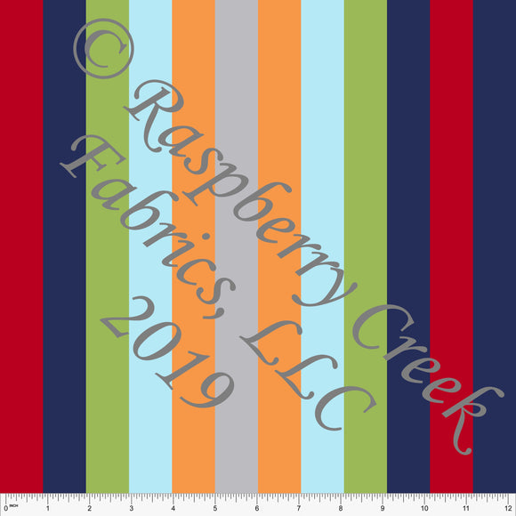 Navy Green Red Orange Light Blue and Grey Vertical Multi Stripe 4 Way Stretch MATTE SWIM Knit Fabric, Club Fabrics - Raspberry Creek Fabrics