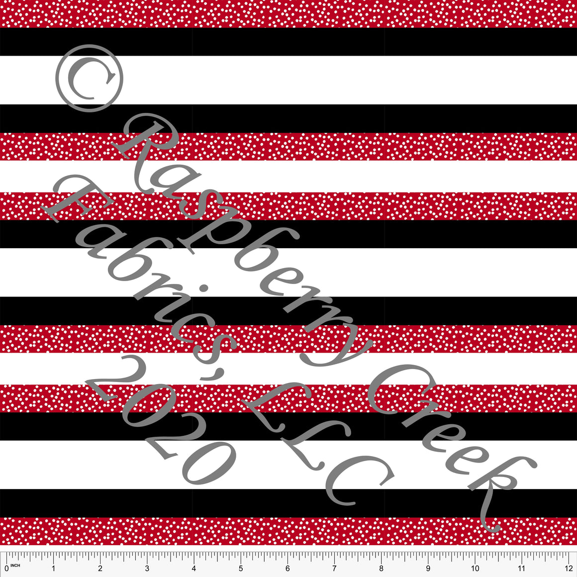 Red Black and White Polka Dot Multi Stripe Print Double Brushed Poly Knit Fabric, By Elise Peterson for CLUB Fabrics - Raspberry Creek Fabrics