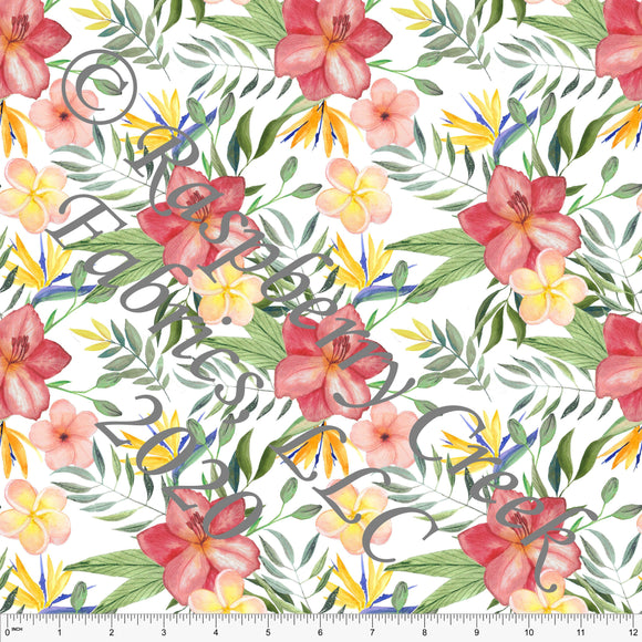 Red Yellow Coral and Green Tropical Floral Print for Club Fabrics - Raspberry Creek Fabrics