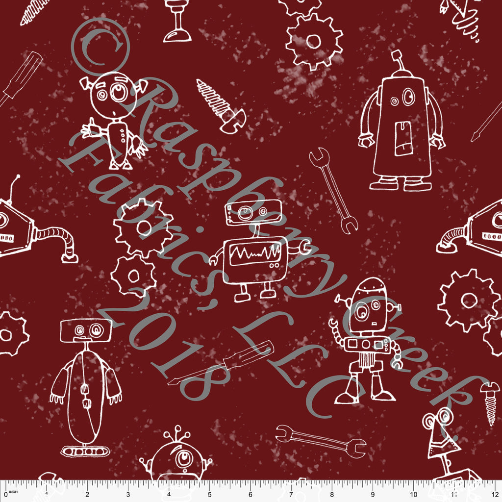 Burgundy and White Robot Splatter 4 Way Stretch Double Brushed Poly Knit Fabric, By Elise Peterson for CLUB Fabrics - Raspberry Creek Fabrics