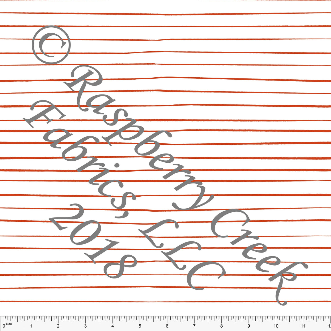 Rust Red and White Hand Drawn Stripe 4 Way Stretch Jersey Knit Fabric, Space by Kimberly Henrie for Club Fabrics
