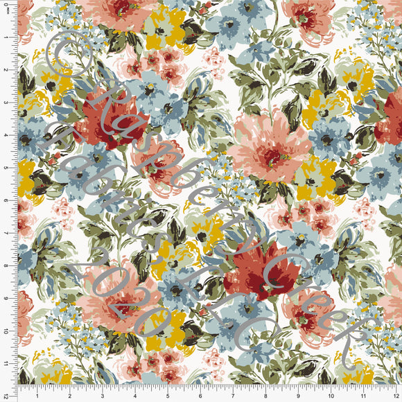 Rust Coral Mustard Dusty Blue and Sage Floral Print Ponte De Roma Knit Fabric, CLUB Fabrics - Raspberry Creek Fabrics