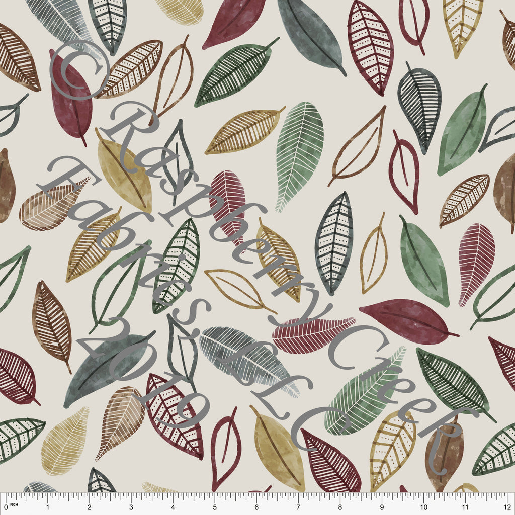 Taupe Burgundy Dusty Olive and Gold Rustic Forest Tossed Leaves 4 Way Stretch Double Brushed Poly, By Kelsey Shaw for CLUB Fabrics - Raspberry Creek Fabrics