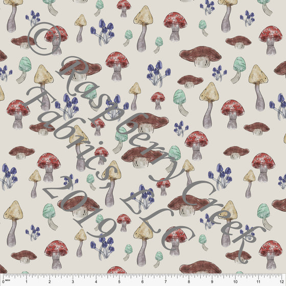 Taupe Red Mint Mustard and Brown Rustic Forest Mushrooms 4 Way Stretch Double Brushed Poly, By Kelsey Shaw for CLUB Fabrics - Raspberry Creek Fabrics