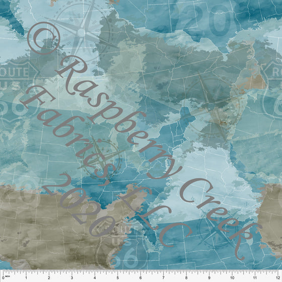 Tonal Blue Teal and Taupe Rustic Map Print Double Brushed Poly Knit Fabric, By Elise Peterson for CLUB Fabrics - Raspberry Creek Fabrics