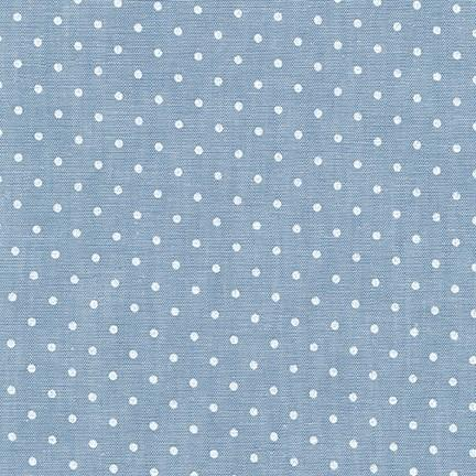 Bleach Indigo Polka Dot Chambray, Sevenberry Classiques Collection by Robert Kaufman, 1 Yard - Raspberry Creek Fabrics