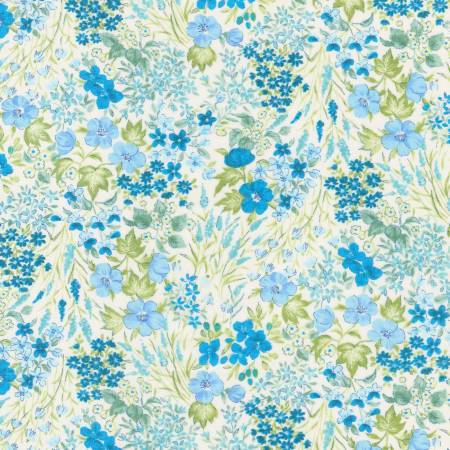 Tonal Blue and Green Abstract Floral Cotton Lawn, London Calling for Robert Kaufman - Raspberry Creek Fabrics
