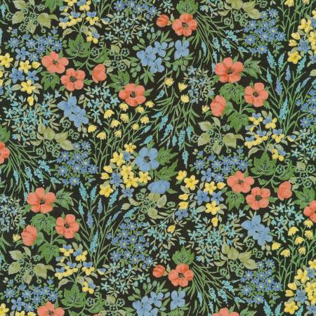 Black Periwinkle Coral and Yellow Floral Cotton Lawn, Sevenberry for Robert Kaufman - Raspberry Creek Fabrics Knit Fabric