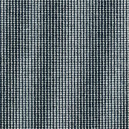Indigo and Ivory Mini Check Gingham Light to Medium Weight Denim, House of Denim Collection by Robert Kaufman, 1 Yard
