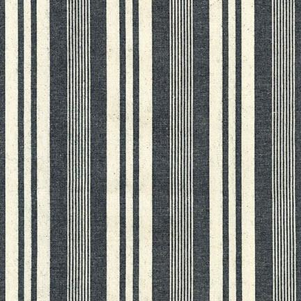 Indigo and Ivory Variegated Vertical Stripe Light to Medium Weight Denim, House of Denim Collection by Robert Kaufman, 1 Yard