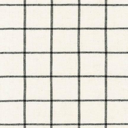 Ivory and Black Windowpane Plaid Yarn Dyed Linen, Essex Yarn Dyed Classics Collection By Robert Kaufman, 1 Yard