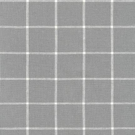 Steel Grey and White Windowpane Plaid Yarn Dyed Linen, Essex Yarn Dyed Classics Collection By Robert Kaufman, 1 Yard