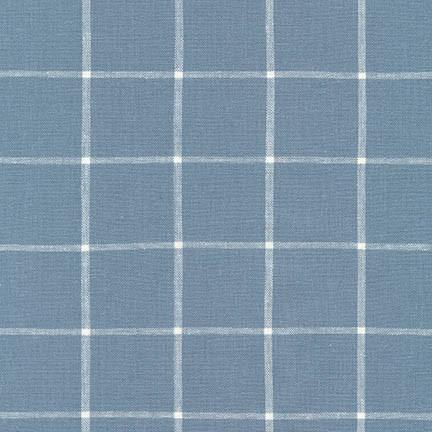 Chambray Blue Windowpane Plaid Yarn Dyed Linen, Essex Yarn Dyed Classics Collection By Robert Kaufman, 1 Yard - Raspberry Creek Fabrics