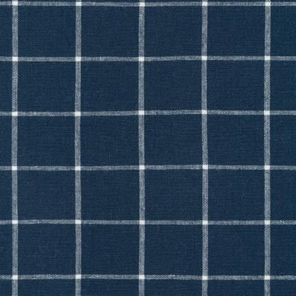 Navy Blue Windowpane Plaid Yarn Dyed Linen, Essex Yarn Dyed Classics Collection By Robert Kaufman, 1 Yard