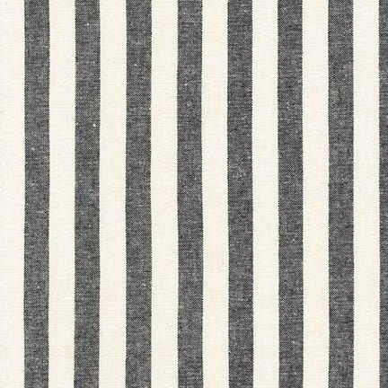 Ivory and Black Vertical Stripe Yarn Dyed Linen, Essex Yarn Dyed Classics Collection By Robert Kaufman, 1 Yard