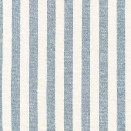 Ivory and Light Blue Chambray Vertical Stripe Yarn Dyed Linen, Essex Yarn Dyed Classics Collection By Robert Kaufman, 1 Yard - Raspberry Creek Fabrics