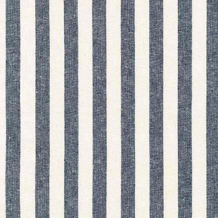 Ivory and Navy Blue Vertical Stripe Yarn Dyed Linen, Essex Yarn Dyed Classics Collection By Robert Kaufman, 1 Yard