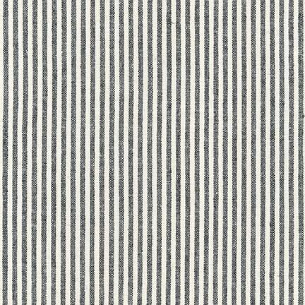 Black and Ivory Thin Stripe Yarn Dyed Linen, Essex Yarn Dyed Classics Collection By Robert Kaufman - Raspberry Creek Fabrics