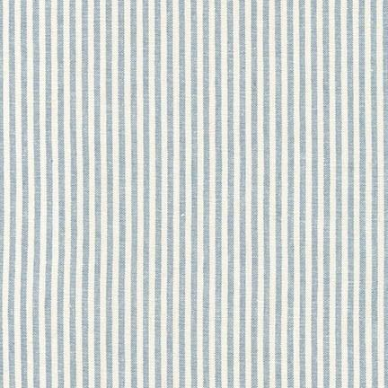 Ivory and Light Blue Thin Stripe Yarn Dyed Linen, Essex Yarn Dyed Classics Collection By Robert Kaufman, 1 Yard - Raspberry Creek Fabrics