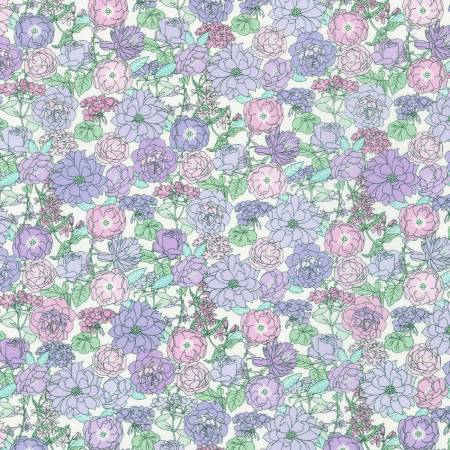 Tonal Lilac Pink and Pale Green Petite Heather Floral Cotton Lawn, London Calling for Robert Kaufman - Raspberry Creek Fabrics