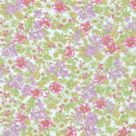 Tonal Pink Green and Yellow Daisy Sweet Floral Cotton Lawn, London Calling for Robert Kaufman - Raspberry Creek Fabrics