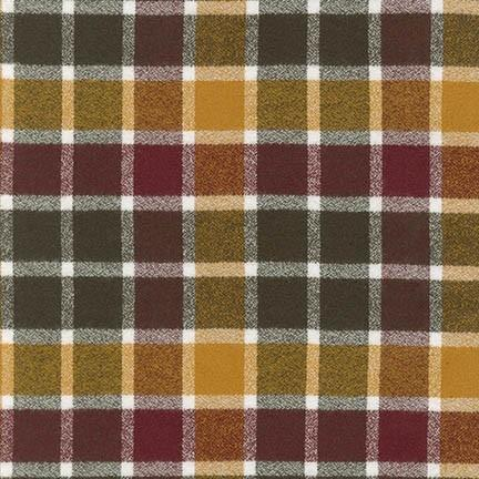 Burgundy Mustard Hunter Green and White Robert Kaufman Mammoth Plaid Flannel - Raspberry Creek Fabrics
