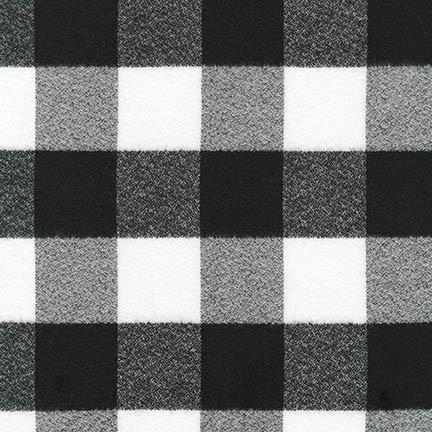 White and Black 2 Inch Robert Kaufman Mammoth Plaid Flannel, 1 Yard