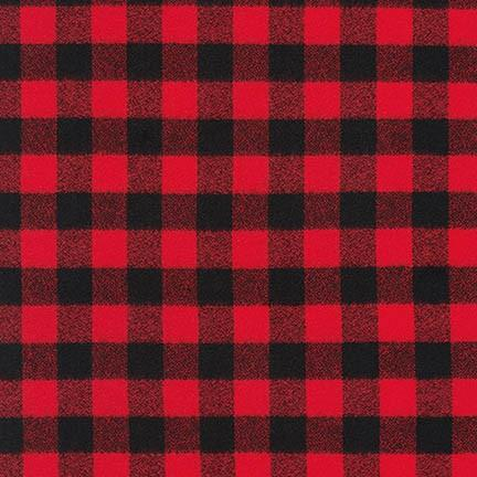 Red and Black Robert Kaufman Mammoth Plaid Flannel, 1 Yard