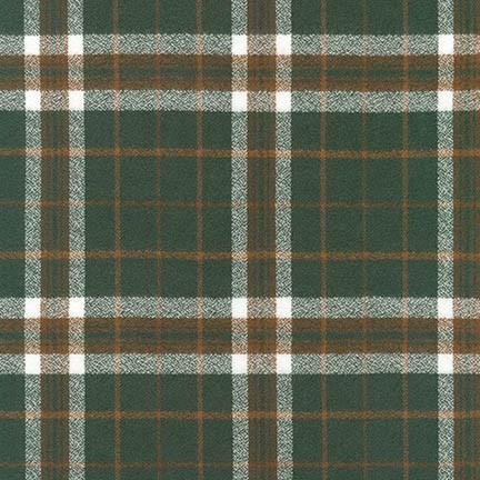 Hunter Green Khaki and White Robert Kaufman Mammoth Plaid Flannel - Raspberry Creek Fabrics