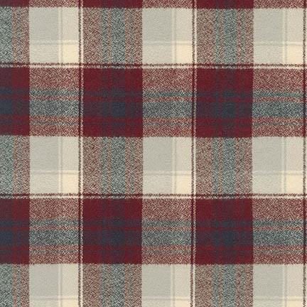 Burgundy Off White and Grey Robert Kaufman Mammoth Plaid Flannel - Raspberry Creek Fabrics Knit Fabric