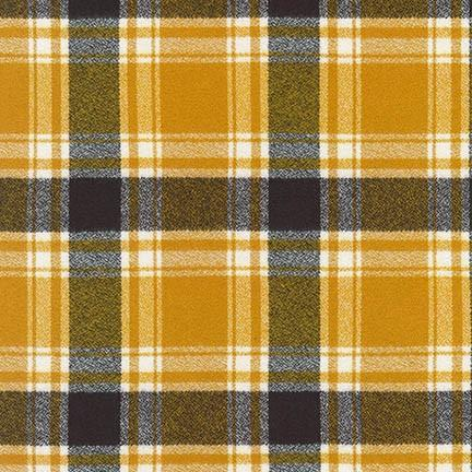 Mustard Charcoal and White Robert Kaufman Mammoth Plaid Flannel - Raspberry Creek Fabrics Knit Fabric