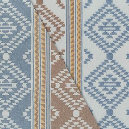 Light Blue Khaki Mustard and Cream Yarn Dyed Geometric Robert Kaufman Taos Flannel - Raspberry Creek Fabrics Knit Fabric